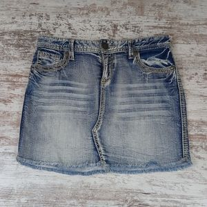 Maurices Distressed Style Denim Jean Mini Skirt